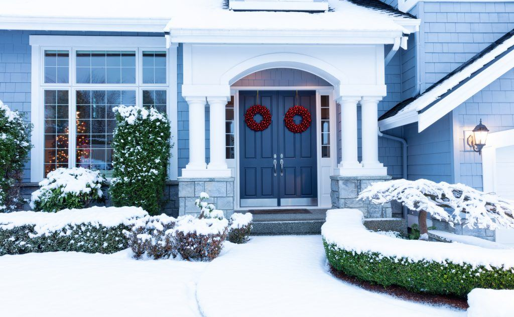 winter holiday weather decorated residential home